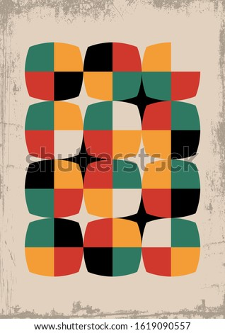 Mid Century Modern Style Background, 1950s Shapes Pattern, Retro Colors Palette, Grunge Texture  Stock photo ©