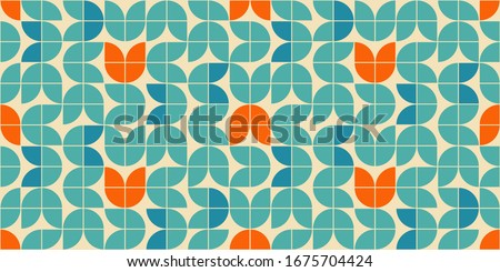 Mid century modern style seamless vector pattern with geometric floral shapes colored in orange, green turquoise and aqua blue. Retro geometrical pattern sixties style. Сток-фото ©