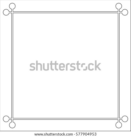 Mid century 50s frame photo border line page, vector pattern vintage simple #577904953