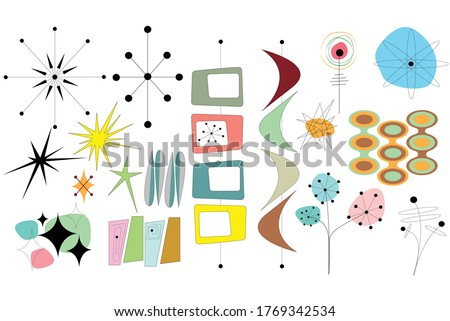 Mid Century Shapes Vector Collage Stock photo ©
