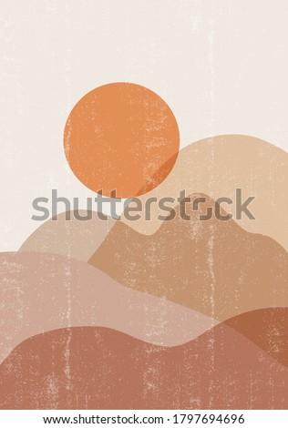 Mid century sunset print boho minimalist printable wall art abstract home decor sun print bohemian art work, vector