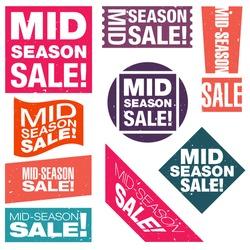 Mid-season sale typographic retro stickers collection. Vector illustration.