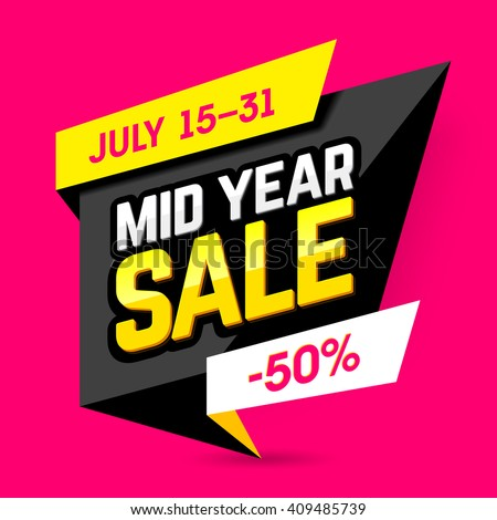 Shutterstock Mid Year Sale banner, poster. Big sale, special offer, discounts, 50% off. Vector illustration.