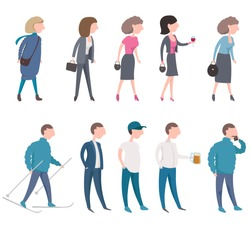 Middle aged poeple in different situation, life activities. Set of isolated persons, vector illustration.