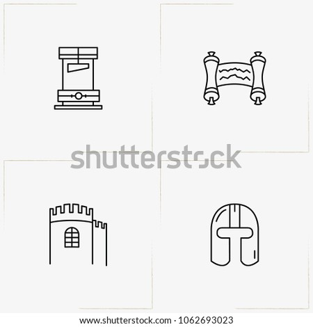 middle ages line icon set with