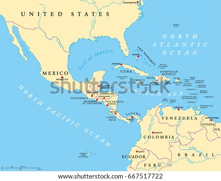 South america map vector download free vector art stock graphics middle america political map with capitals and borders mid latitudes of the americas region gumiabroncs Image collections