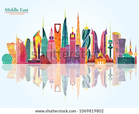 Middle East detailed skyline. Vector Illustration. Main buildings of Istanbul, Dubai, Kuwait, Manama, Abu Dhabi, Riyadh, Jeddah and Doha.
