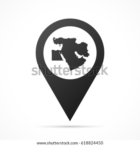 Middle East Map on location pin. Map pointer isolated on a white background. Conceptual vector illustration.