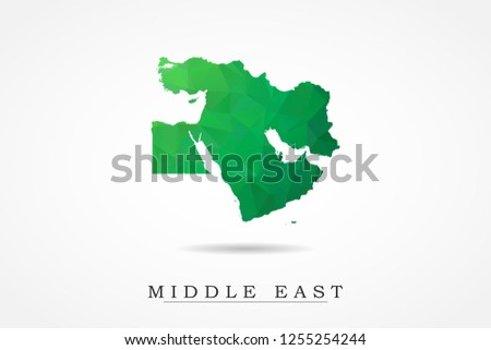 Middle East Map - World Map International vector template, low polygon style with green color isolated on white background - Vector illustration eps 10