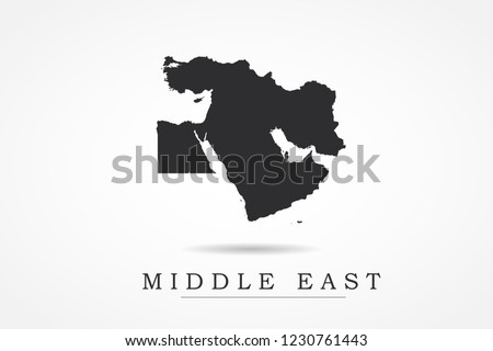 Middle East Map- World Map International vector template with black color isolated on white background - Vector illustration eps 10
