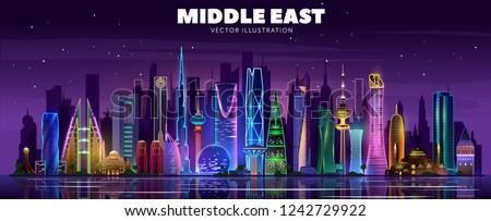 Middle east night skyline. Vector illustration.