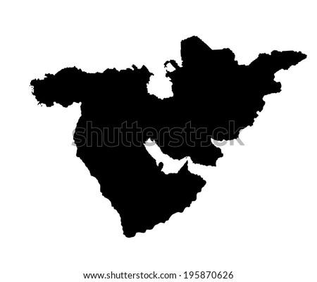 Middle east vector map set of states. high detailed silhouette illustration isolated on white background. Middle east countries collection illustration. Asia icon of middle east states.