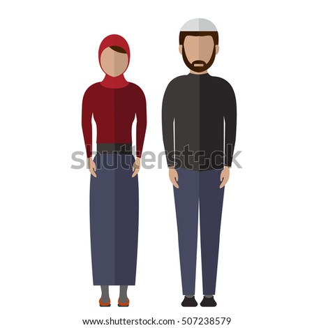 Middle Eastern, Arab couple People Icons vector.