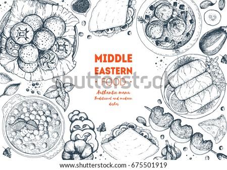 Middle eastern cuisine top view frame. Food menu design with hummus, kebab, dolma and falafel. Vintage hand drawn sketch vector illustration. Middle eastern traditional food.