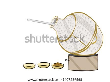 Middle Eastern Ful Mudammes or Arabian Bean Stew  Metal Pot colored art. Editable Clip Art.