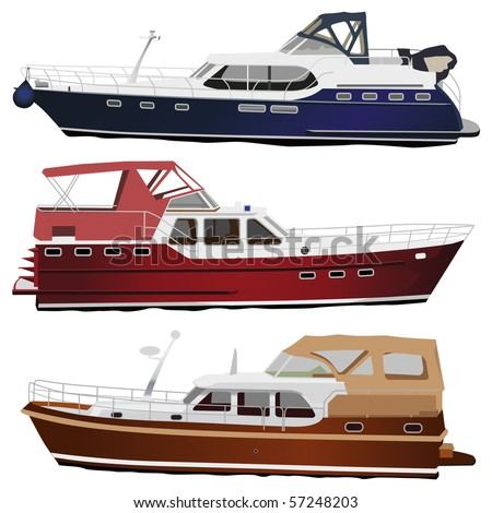 Middle size sea motor yachts. Vector illustration, isolated on white.