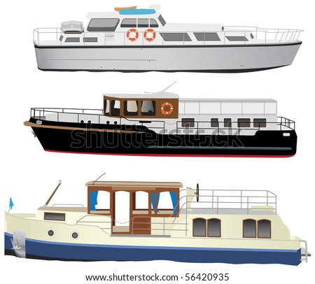 Middle size sea touristic motor boats. Vector color illustration.