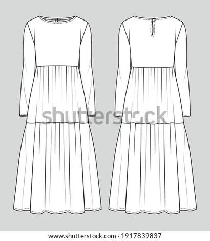 Midi dress. Fashion sketch. Vector illustration. Flat technical drawing. Mockup template. Stock foto ©