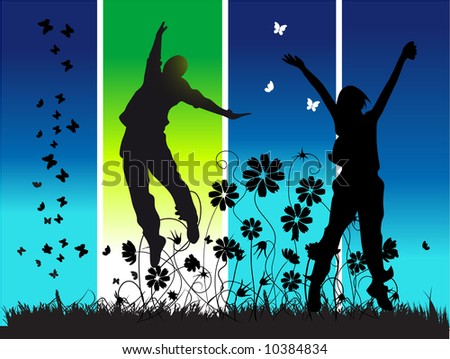 Midnight party, young happy peoples - stock vector
