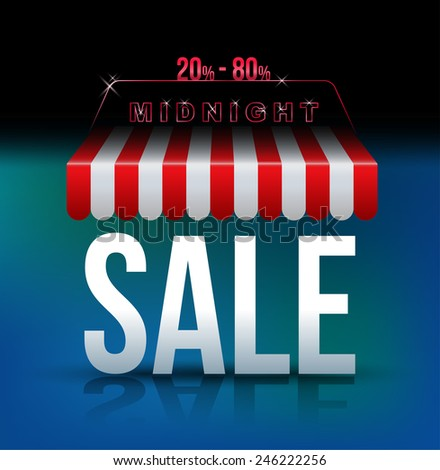 Midnight sale banner awning. Vector illustration. Can use for promotion banner.