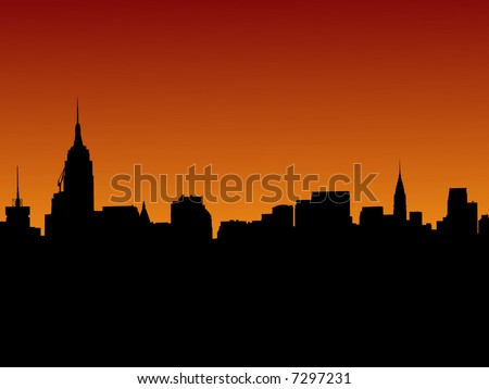 Midtown Manhattan skyline at sunset illustration with over 30 separate buildings in eps format