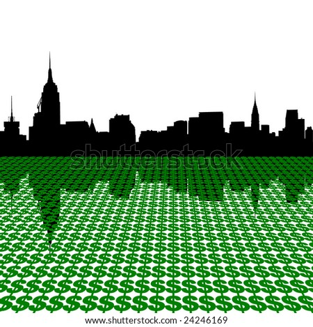 Midtown manhattan skyline with dollar symbols illustration