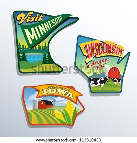 Midwest United States Minnesota Wisconsin Iowa vector illustrations designs