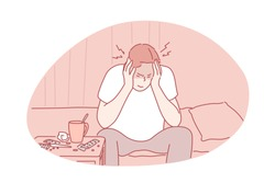 Migraine, headache, desease concept. Young man has headache and suffers from pain. Migraine is symptom of hangover. Unhappy boy holding his head and is in pain because of flu. Simple flat vector.