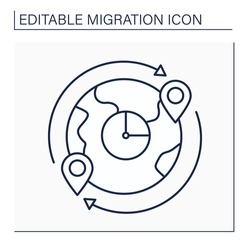 Migrant flow line icon. Migrants number crossing boundary. Entering or leaving given country during time period.Migration concept. Isolated vector illustration. Editable stroke