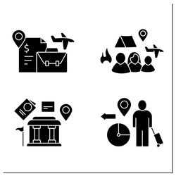 Migration glyph icons set. Embassy, labour relocation, forced family escape. Migration concept. Filled flat signs. Isolated silhouette vector illustrations