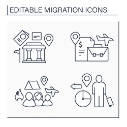 Migration line icons set. Embassy, labour relocation, forced family escape. Migration concept. Isolated vector illustrations. Editable stroke