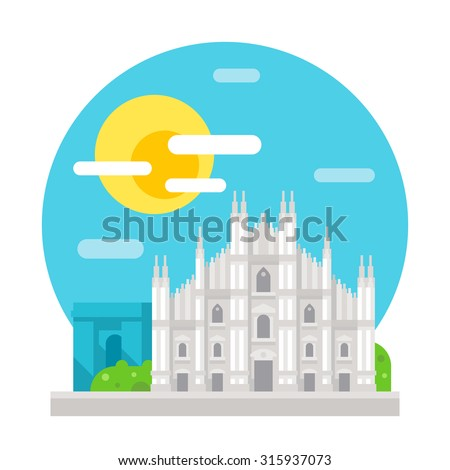 milan cathedral flat design
