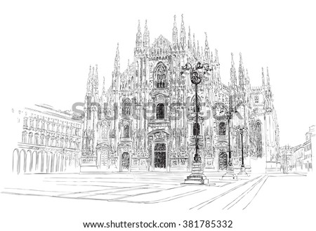 milan cathedral  hand drawing