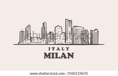 milan cityscape sketch hand