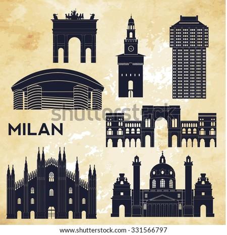milan detailed skyline vector