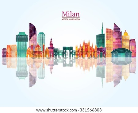 milan detailed skyline vector