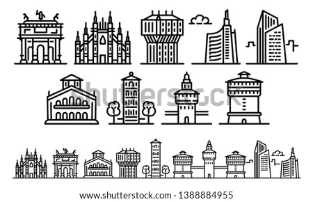 milan icons set outline set of
