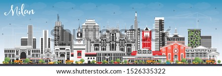 Milan Italy City Skyline with Color Buildings and Blue Sky. Vector Illustration. Business Travel and Concept with Historic Architecture. Milan Cityscape with Landmarks.