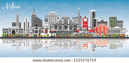Milan Italy City Skyline with Color Buildings, Blue Sky and Reflections. Vector Illustration. Business Travel and Concept with Historic Architecture. Milan Cityscape with Landmarks.