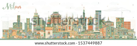 Milan Italy City Skyline with Color Buildings. Vector Illustration. Business Travel and Concept with Historic Architecture. Milan Cityscape with Landmarks.