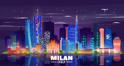 Milan Italy skyline with panorama in night background. Vector Illustration. Business travel and tourism concept with modern buildings. Image for banner or web site.