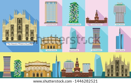 Milan monument vector icons set. Flat set of milan monument vector icons for web design