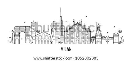 milan skyline  italy this