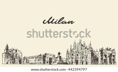 milan skyline  italy  vector