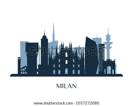 milan skyline  monochrome