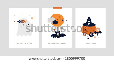 Milestone cards set for kids Halloween party. Nursery print, poster with little cute ghost, pumpkin. Baby shower cards collection. Ideal for kids room decoration, clothing, prints, anniversary, party