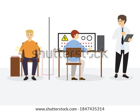 Milgram Experiment on Obedience, Social Psychology, Vector Illustration  Сток-фото ©
