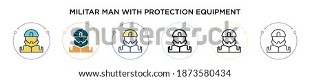 Militar man with protection equipment icon in filled, thin line, outline and stroke style. Vector illustration of two colored and black militar man with protection equipment vector icons designs can  Foto stock ©