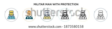 Militar man with protection icon in filled, thin line, outline and stroke style. Vector illustration of two colored and black militar man with protection vector icons designs can be used for mobile,  Foto stock ©