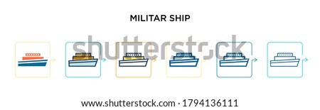 Militar ship vector icon in 6 different modern styles. Black, two colored militar ship icons designed in filled, outline, line and stroke style. Vector illustration can be used for web, mobile, ui Foto stock ©